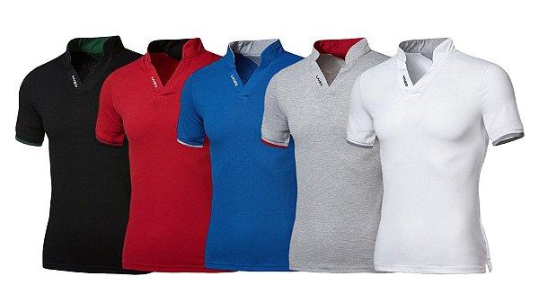Kit com 5 - Camisa / Camiseta Masculina - Gola Padre