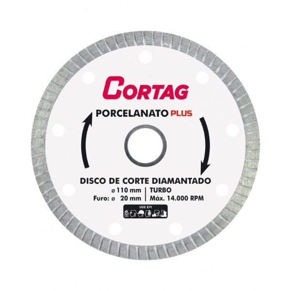 Disco de Corte Diamantado Turbo Porcelanato Plus - Cortag
