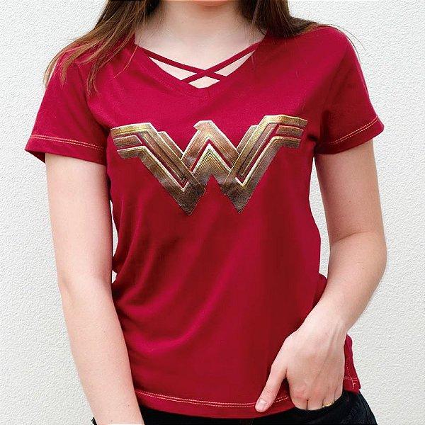 Camiseta Feminina Wonder Woman Logo Gold
