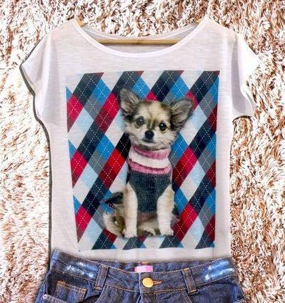 T-shirt Xadrez Chihuahua