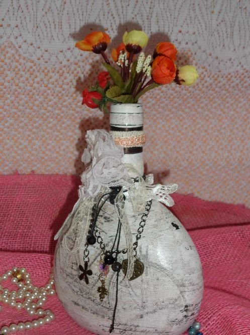 Garrafa de Vidro, Sustentavel  estilo Shabby Chic