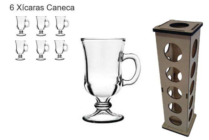Caneca de Vidro Cappuccino 240 ml - C/ 6 Unid  Grátis uma Torre porta Capsulas