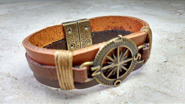 Bracelete de Couro Marrom - Bússola - Rosa dos Ventos