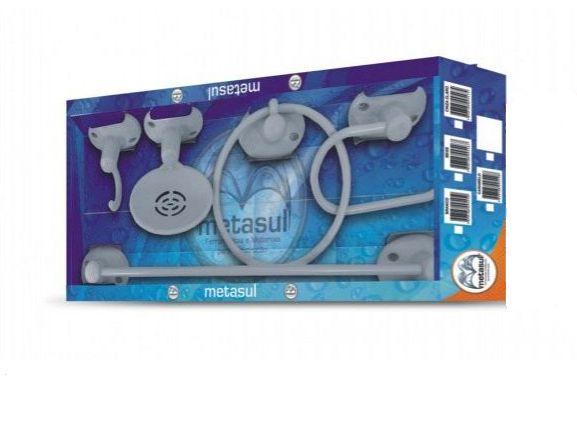 Kit Soft para Banheiro Cinza com 5 Peças