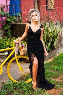 Vestido Longo transpassado preto