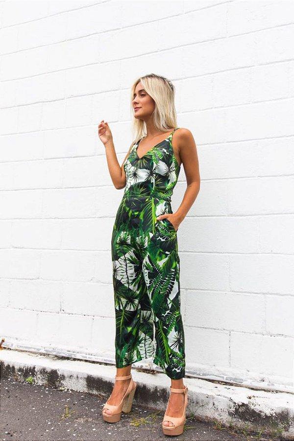 macacão sedinha folhagem verde