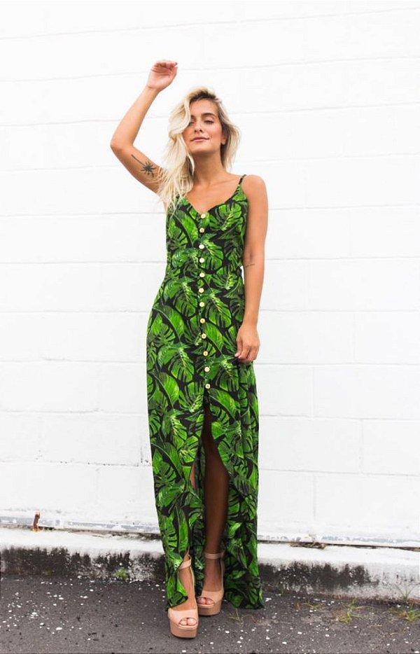 vestido longo estampado com fenda viscose verde