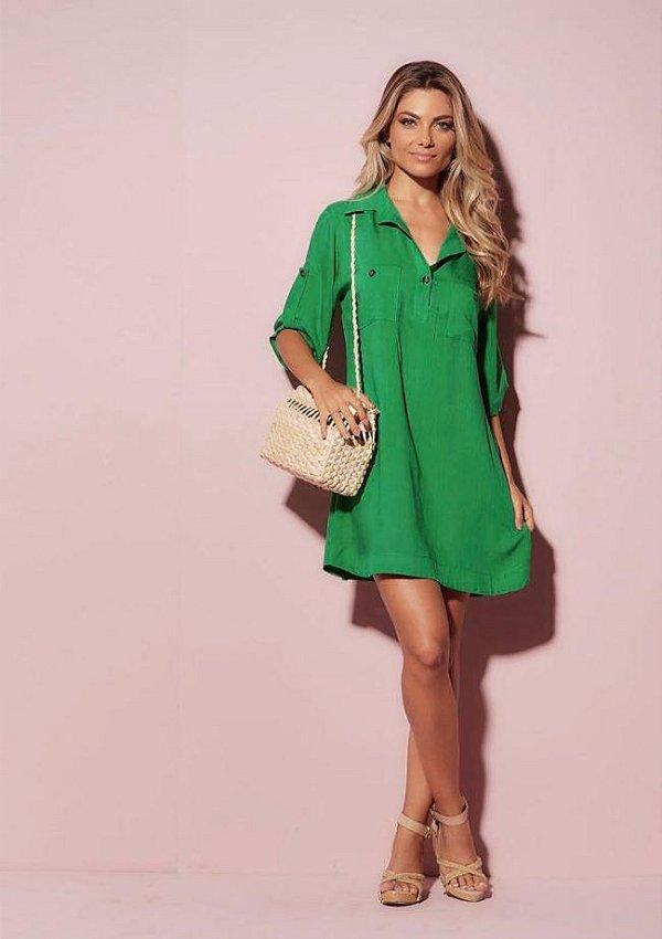 Vestido tipo chamise linho leve verde