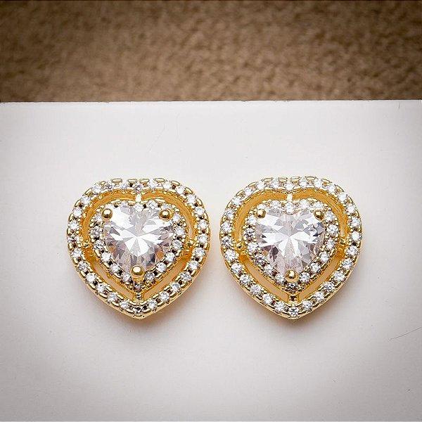 Brincos coração dourados com cristais