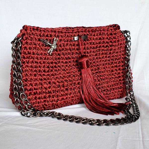 Bolsa luxo de crochet marsala