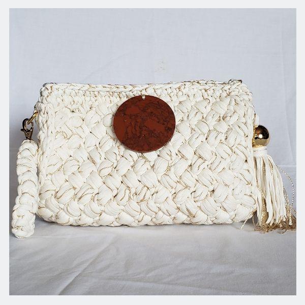 Bolsa clutch de luxo de crochet offwhite