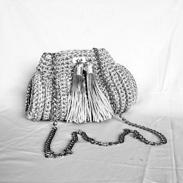 Bolsa clutch de luxo fascination crochet prata