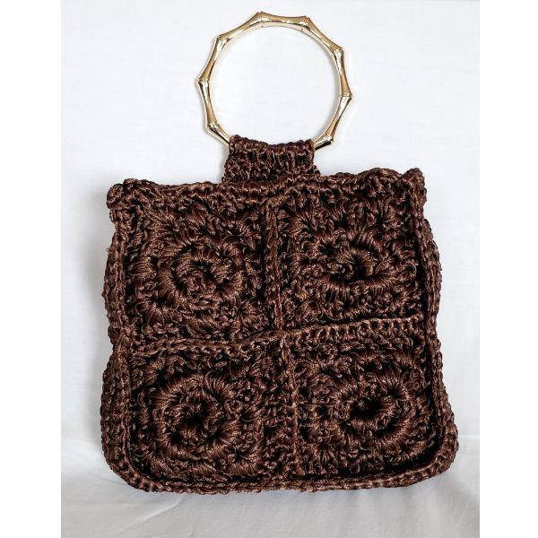 Bolsa luxo de crochet filó chocolate
