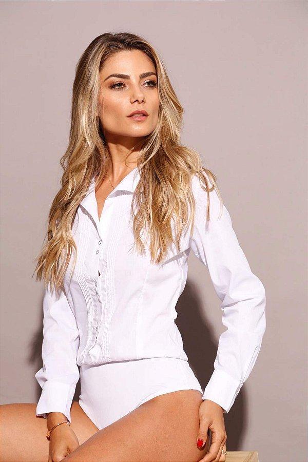 Body camisa tricoline branca