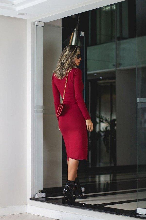 Vestido midi com elastano vermelho