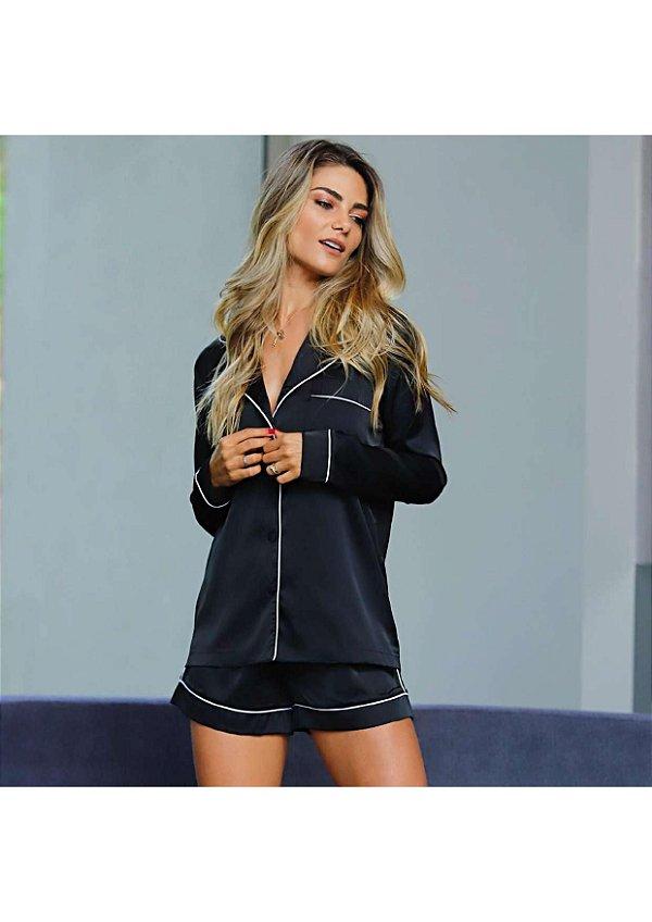 Pijama blusa e short preto