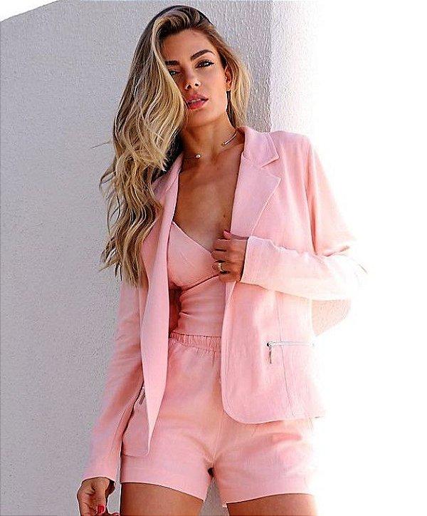 Blazer linho rosa
