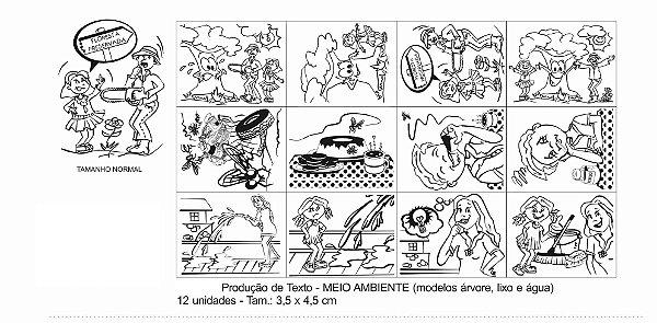 Carimbo producao de texto meio ambiente -Mad-12 pc-Cx. papel