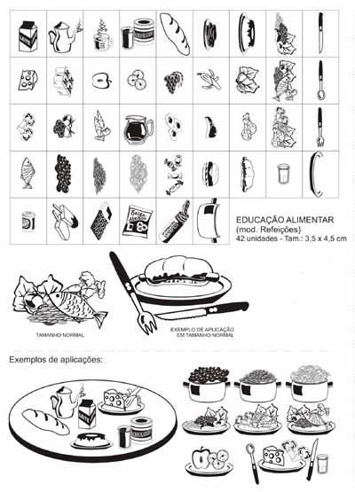 Carimbo edu alimentar (mod. refeicoes interativo) - 42 pc