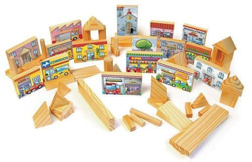 Blocos de Construção e Urbanismo, 100 peças em madeira na mochila