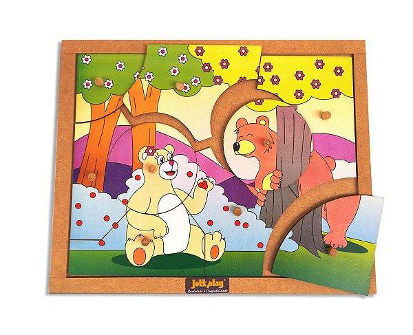 Quebra-Cabeça com Pinos modelo Ursos com 9 peças