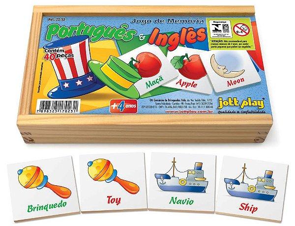 Jogo de Memória Português/Inglêscom 40peças cx madeira