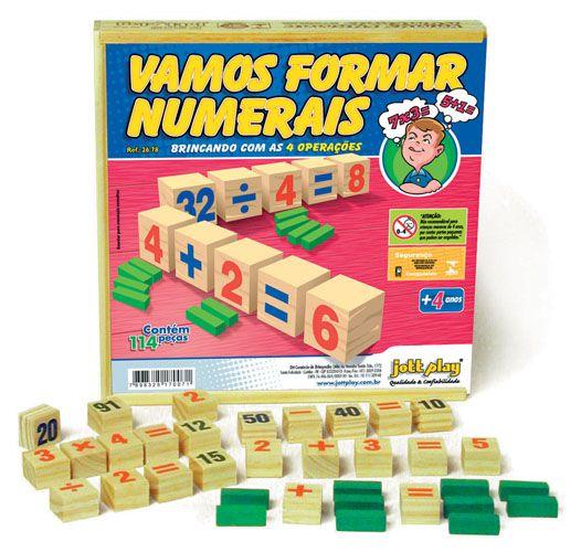 Vamos Formar Numerais 114 pedras cx de madeira