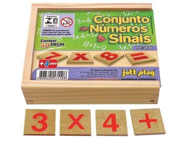 Conjunto de Números e Sinais com 40 peças em M.D.F cx. madeira