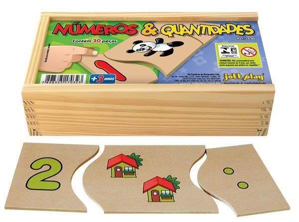 Números & Quantidades 30 peças cx. de madeira