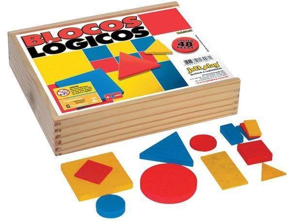 Blocos Lógicos 48 peças em madeira – base 7 cm cx. madeira