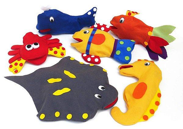 Fantoches Animais do Mar com 6 personagens em feltro