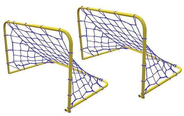 Trave gol para futebol júnior o par em tubo de aço com pintura epóxi, com rede medindo 78x53x49cm