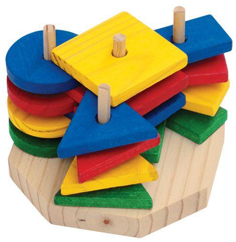 Torre de Formas Geométricas com 16 peças em madeira colorida
