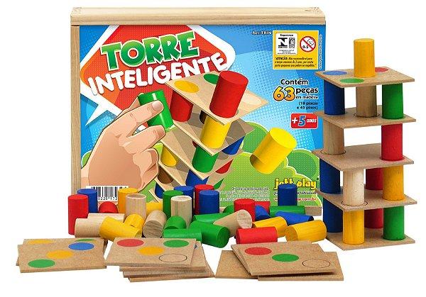 Torre Inteligente com 18 placas em MDF e 45 pinos coloridos em cx. madeira