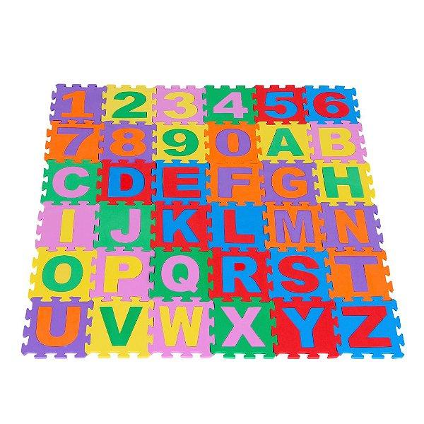 Tapete alfanumerico em EVA com 36 pecas - Emb. c/ ziper