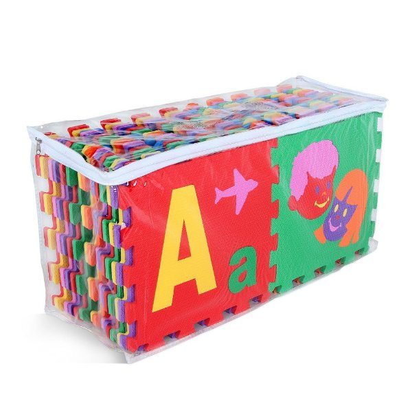Tapete - Super tapete do Alfabeto c/ bordas-EVA-56pc-Emb.c/ ziper