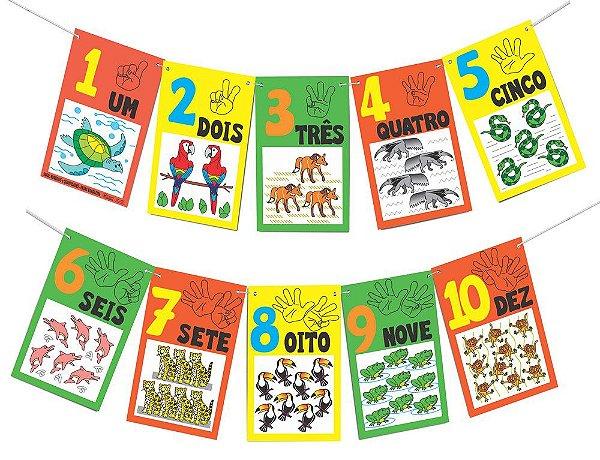 Varal de numerais e quantidades - Fauna brasileira-Emb plast