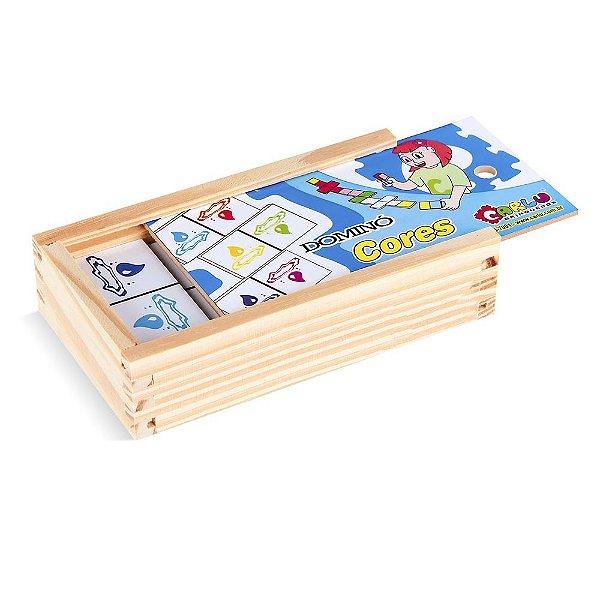 Domino cores em MDF com 28 pecas - Cx. madeira.