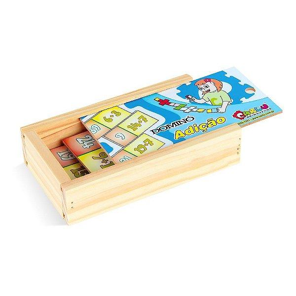 Domino adicao em MDF com 28 pecas - Cx. madeira.