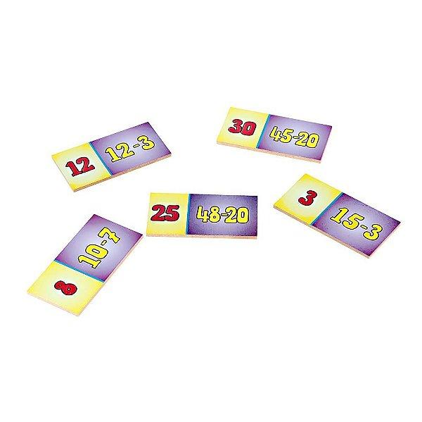 Domino subtracao em MDF com 28 pecas - Cx. madeira.