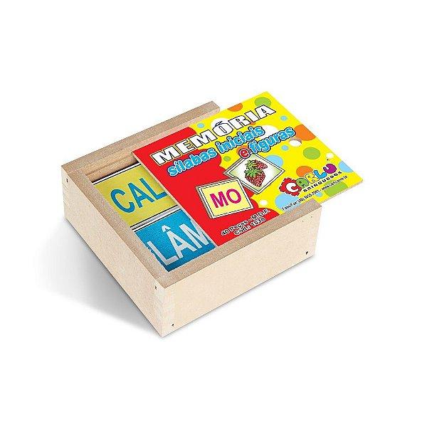 Memoria silabas iniciais e figuras em MDF - 40pc - Cx. madeira.