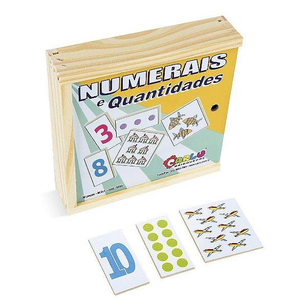 Numerais e quantidades jogo com 30 pecas em MDF - Cx. madeira.