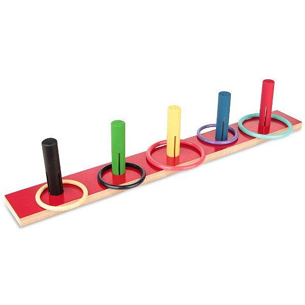 Jogo de argolas liso em MDF com 10 pecas - PVC enc.