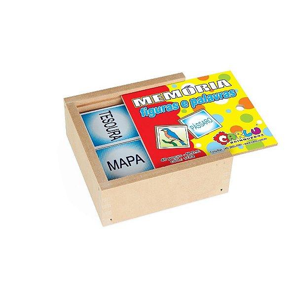 Memoria figuras e palavras em MDF com 40 pecas - Cx. madeira.