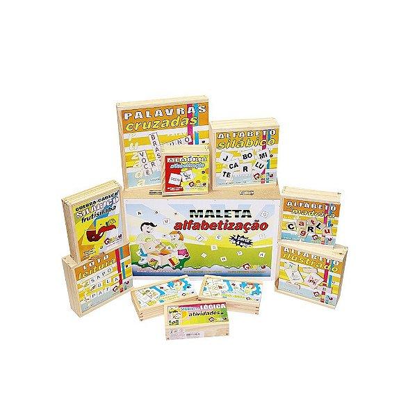 Maleta alfabetizacao - 10 jogos - Maleta MDF