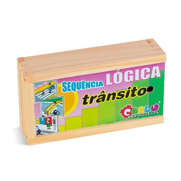 Sequençia lógica  trânsito em MDF com 16 pecas - Cx. madeira.