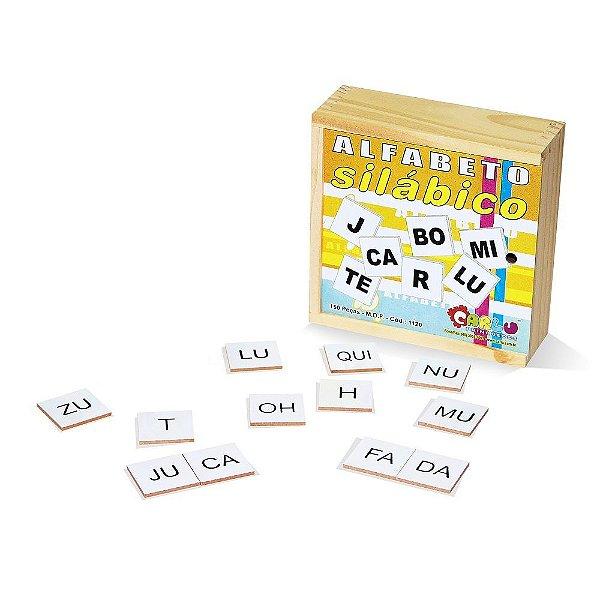 Alfabeto silabico 150 pecas em MDF - Cx. madeira.