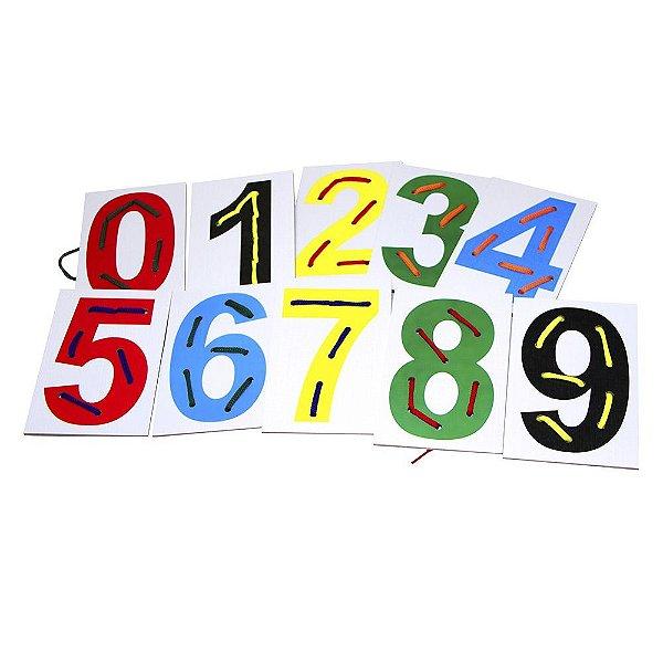 Alinhavos numerais em MDF com 10 pecas e 10 cad. - Emb. plast.