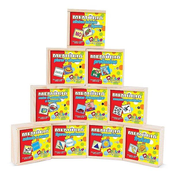 Memoria kit em MDF - 10 jogos - PVC enc.