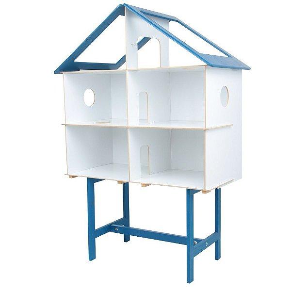 Casinha azul em MDF com 40 pecas - Cx. papelao